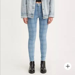 Levi's 721 High Rise Skinny bleach plaid jeans 25